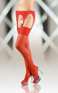 Stockings 5507 - red pończochy do paska