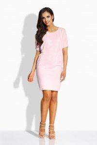 L206 Sukienka z gumkami pudrowy róż
