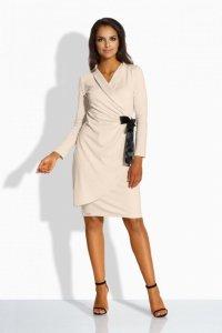 L227 kopertowa sukienka beżowy