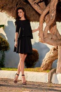 Rozkloszowana sukienka z falbanką  L238 czarny