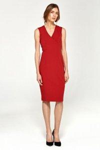 Ołówkowa sukienka z dekoltem V - czerwony - S98