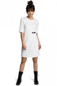 B066 Sukienka z klamrą ecru