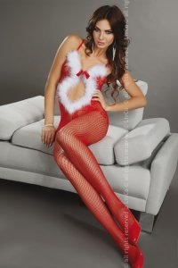 Magali Christmas LC 17178 bodystocking śnieżynka