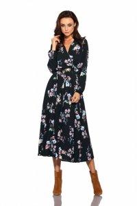 Modna sukienka midi L286 czarny w kwiatki