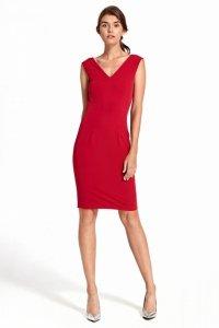 Sukienka z głębokim dekoltem na plecach - czerwony - S101