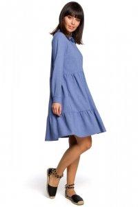 B110 Sukienka z trzech falban - niebieska