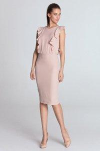 Sukienka ołówkowa z pionowymi falbanami - róż - S111