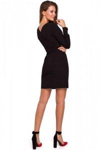 K027 Sukienka z bufiastymi rękawami - czarna