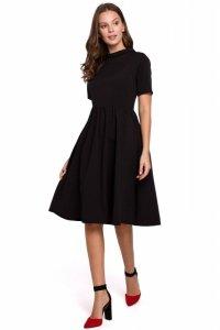 K028 Sukienka z wywiniętą stójką - czarna