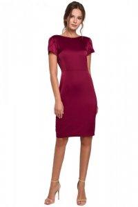 K041 Sukienka z dekoltem typu woda z tyłu - bordowa