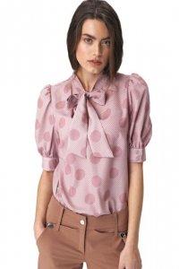 Różowa bluzka z wiązaniem na dekolcie w grochy - B111