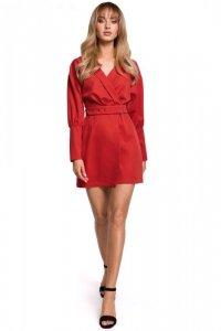 M501 Sukienka z bufiastymi rękawami i paskiem - czerwona