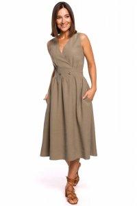 S224 Sukienka bez rękawów z rozkloszowanym dołem - khaki