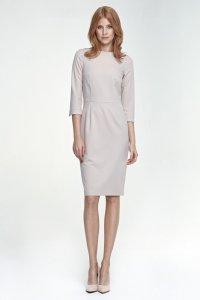 Klasyczna beżowa sukienka damska - S80