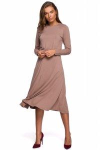 S234 Sukienka z rozkloszowanym dołem - cappuccino
