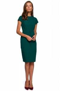 S239 Sukienka ołówkowa z przeszyciami - zielona