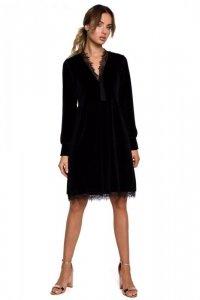 M563 Welurowa sukienka z głębokim dekoltem i koronką - czarna
