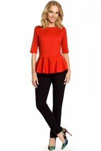 M007 Elegancka bluzka z baskinką - czerwona