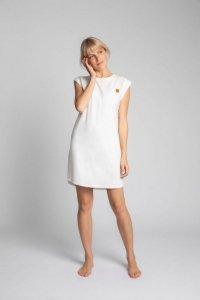 LA033 Sukienka z bawełny prążkowanej bez rękawów - ecru