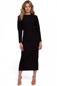 K079 Sukienka midi z wysokimi mankietami - czarna