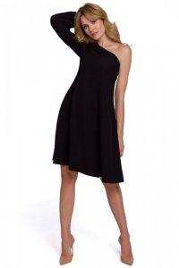 K081 Sukienka na jedno ramię - czarna