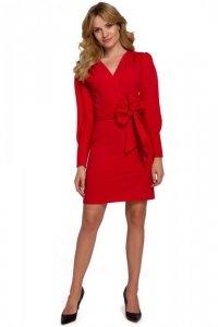 K082 Sukienka z wiązaną kokardą - czerwona