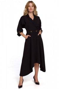 K086 Sukienka z asymetrycznym dołem - czarna