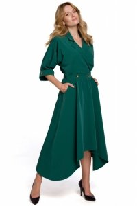 K086 Sukienka z asymetrycznym dołem - zielona