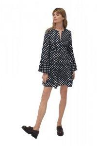 Sukienka z falbaną w grochy - S175