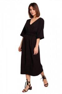 B192 Sukienka midi z gumą w pasie - czarna