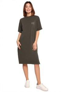 B194 Sukienka t-shirtowa - militarna zieleń