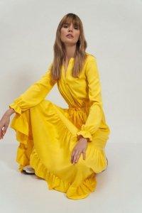Długa żółta sukienka z falbanką - S178