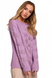 M600 Sweter z ażurowym wzorem - liliowy