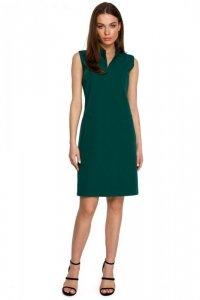 S258 Sukienka żakietowa bez rękawów - zielona
