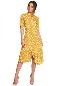 S263 Sukienka ze stójką i falbaną na dole - żółta