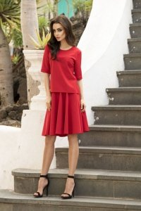 1 Komplet bluzka i spódnica L237 czerwony PROMO