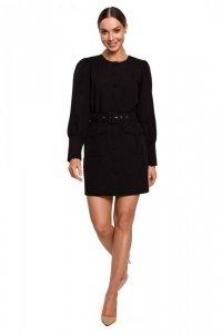 M605 Sukienka z kieszeniami - czarna