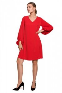 S273 Sukienka z szerokimi rękawami i dekoltem - czerwona