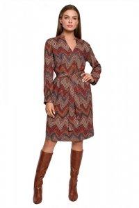 S287 Sukienka z wiązaniem w azteckie wzory - model 1