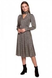 S288 Sukienka z wiązaniem przy szyi - wzór lampart - model 1