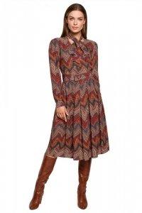 S289 Sukienka z wiązaniem przy szyi - wzór aztecki - model 1