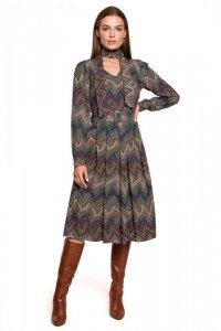 S289 Sukienka z wiązaniem przy szyi - wzór aztecki - model 2