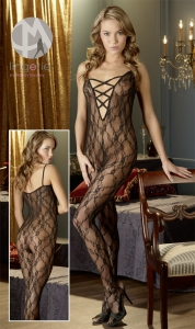 1*2550008 Spitzencatsuit - black bodystocking PROMO