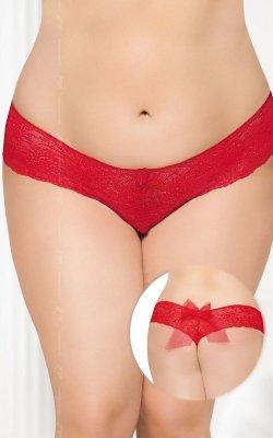G-string 2436 - Plus Size - red otwarty krok