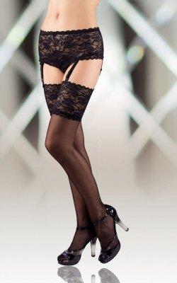 Stockings 5512 - black pończochy z pasem