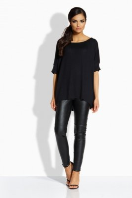 L204 Luźna elegancka bluzka czarny