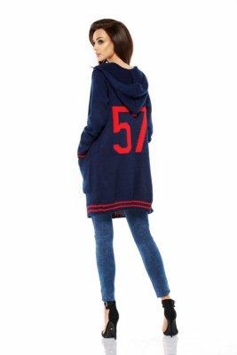 LS210 Luźny casualowy sweter narzutka granatowy