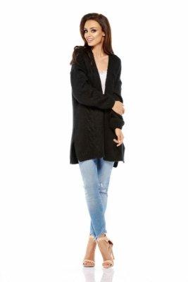 LS211 Prosty, ciepły sweter narzutka czarny