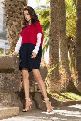 Długi trójkolorowy sweter LS203 czerwony-granat-biały
