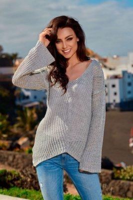 Asymetryczny sweter damski LS200 jasnoszary